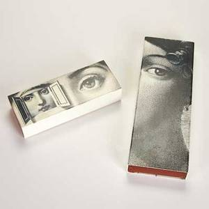 Piero fornasetti two sliding boxes italy ca 1987 silkscreened enameled metal covers and dovetailed mahogany boxes both marked one with sticker label larger 1 14 x 11 34 x 4