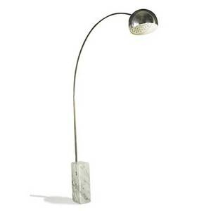 P and a castiglioni flos arco floor lamp italy 1960s marble aluminum foil label as shown 96 x 72 x 7