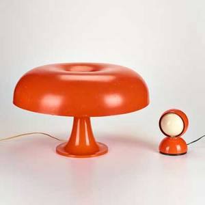 Giancarlo mattioli vico magistretti artemide two pieces italy ca 2005 nesso table lamp and eclipse desk lamp modeled plastic and enameled metal both marked tallest 14 x 22 dia