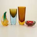 Flavio poli four glass pieces italy late20th c three vases one bowl numbered 7577 87 unmarked tallest 10 34