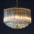 Camer sixlight chandelier 20th c brass frame crystal rods unmarked 11 x 17 dia fixture