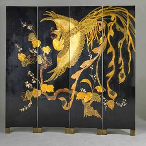 Art deco style contemporary fourpanel folding screen lacquered painted and gold leaf over wood substrate brass hardware each panel 72 x 18