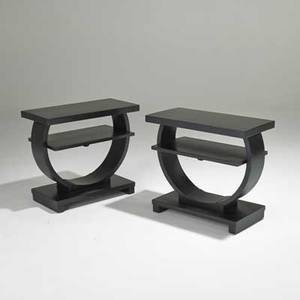 Art deco pair of tiered sofa tables usa 1920s ebonized wood unmarked each 22 x 25 x 12
