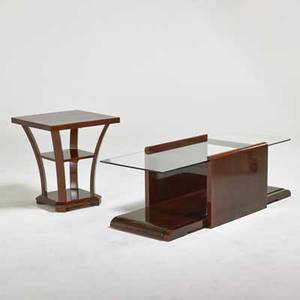 Art deco coffee table and side table usa 1920s lacquered mahogany glass unmarked coffee table 17 12 x 57 x 22 side table 25 14 x 22 14 x 22