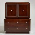 Modern cabinet usa 1950s lacquered mahogany brushed metal unmarked 50 x 42 12 x 21