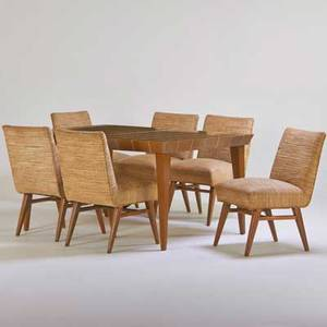 Selig dining table and six chairs usa 1950s bleached mahogany upholstery unmarked dining table 30 x 60 x 42 three inserts 12 each chair 33 x 18 12 x 25