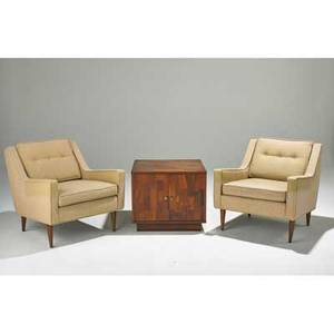 Selig pair of lounge chairs and twodoor end table usa 1960s upholstery beech walnut and brass unmarked chairs 28 x 27 x 37 end table 20 x 24 x 24
