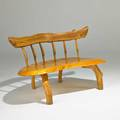 American studio natural wood bench 1990s mixed woods carved ja 93 29 x 50 x 27 12