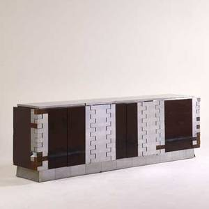 Paul evans directional cityscape cabinet usa 1970s chromed steel lacquered wood laminate unmarked 32 x 94 x 21