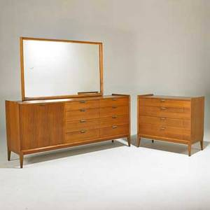 Cavalier two dressers and one mirror usa 1960s walnut aluminum mirrored glass two metal labels larger dresser 33 x 72 x 18 smaller dresser 33 x 36 x 18 mirror 34 x 54