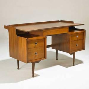 Hooker doublepedestal desk usa 1960s walnut brushed and enameled aluminum branded 30 12 x 50 x 26