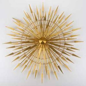 Style of c jere sunburst wall sculpture usa mid to late20th c brushed brass unmarked 25 x 25 x 4 12