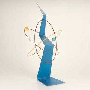C jere artisan house atomic sculpture usa late20th c painted metal and wood unmarked 38 14 h x 20 12 dia