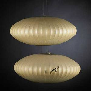 George nelson howard miller pair of bubble lamps usa 1950s latex and nickelplated metal unmarked each 7 12 x 18 dia