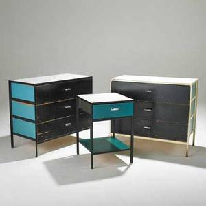 George nelson herman miller steelframe dressers and nightstand zeeland mi 1950s laminate enameled and chromed steel painted wood nightstand foil label 24 12 x 17 x 18 12 each dresse
