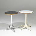 George nelson herman miller two swagleg side tables zeeland mi 1950s60s laminate birch polished and enameled aluminum one metal label taller 22 12 x 17 14 dia