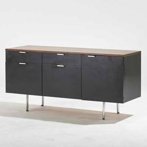 George nelson herman miller cabinet zeeland mi 1960s rosewood ebonized wood chromed steel metal label 27 x 56 x 20