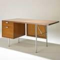 George nelson herman miller desk usa 1950s walnut zincplated steel laminate foil label 30 x 60 x 30