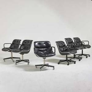 Charles pollack knoll international assembled set of six armchairs usa 1970s chromed and enameled steel plastic leather labels each 32 x 26 x 28