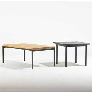 Florence knoll knoll associates coffee and side tables usa 1960s enameled steel oak slate coffee table labeled coffee table 17 x 45 x 23 12 side table 19 x 24 sq