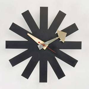 George nelson howard miller asterisk wall clock zeeland mi 1950s enameled metal wood sticker label 10 x 10 x 2 12