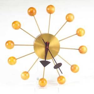 George nelson howard miller ball wall clock zeeland mi 1940s enameled aluminum brass wood paper label 13 14 dia