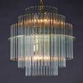 Gaetano scolari lightolier chandelier usa ca 19501970 tiered glass rods on steel frame unmarked italy 20th c unmarked 16 x 16 dia