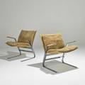 Pace pair of cantilevered armchairs usaitaly 1960s chromed steel suede unmarked each 29 12 x 24 x 27 12