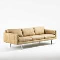 Milo baughman thayer coggin threeseat sofa high point nc 1970s wool chromed steel upholstery label 27 x 81 12 x 31