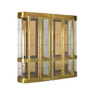 Mastercraft pair of illuminated vitrines usa 1980s brass bronze glass brass labels paper labels 88 x 40 x 19