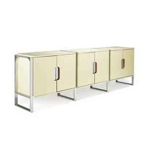 Milo baughman 1923  2003 thayer coggin triple cabinet high point nc 1970s polished aluminum laminate oak unmarked 32 34 x 104 12 x 19