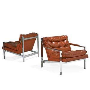 Milo baughman 1923  2003 thayer coggin pair of angle bar lounge chairs high point nc 1970s chromed steel vinyl unmarked 27 12 x 30 x 33