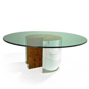Milo baughman 1923  2003 thayer coggin dining table high point nc 1980s stainless steel maple burl glass unmarked 30 x 78 dia