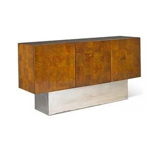 Milo baughman 1923  2003 thayer coggin cabinet high point nc 1970s maple burl chromed steel unmarked 33 34 x 66 x 17 12