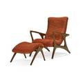 Vladimir kagan b 1927 kagandreyfuss contour lounge chair no 175e and ottoman new york 1950s sculpted walnut chenille unmarked chair 36 x 29 12 x 34 ottoman 15 x 20 x 21