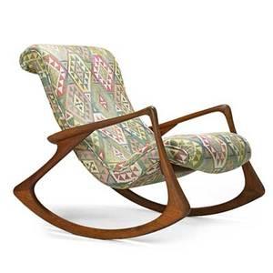 Vladimir kagan b 1927 kagandreyfuss rocking chair no 175f usa 1950s sculpted walnut silk branded 38 x 32 x 43