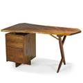 George nakashima 1905  1990 nakashima studios walnut conoid desk new hope pa 1975 signed and dated 29 x 54 x 33 12 provenance available copy of original order card and letter of authen