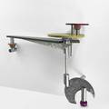 Jay stanger b 1956 ricky bernstein wallmounted console table usa 1990s dyed mixed woods brushed aluminum glass by ricky bernstein unmarked 49 12 x 74 12 x 23 provenance original ow