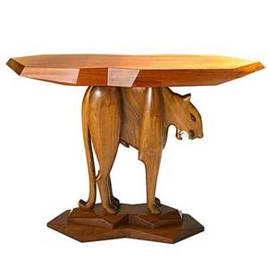 Robert whitley b 1925 leopard table solebury pa 1986 sculpted walnut rosewood ebony ivory enameled metal signed created by robert c whitley solebury bucks county pa 1986 30 12 x 45
