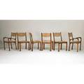 Arthur espenet carpenter 1920  2006 set of six chairs four side two arm bolinas ca 196670 laminated and carved american black walnut oak cut velvet armchairs incised espenet 6604 side