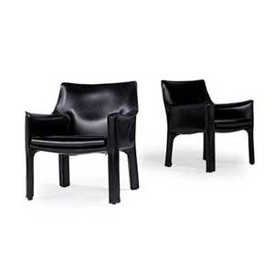 Mario bellini b 1935 cassina pair of cab lounge chairs italy 1970s stitched leather cassina paper labels 31 x 26 12 x 22