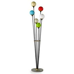 Italian floor lamp 1950s cased glass brass painted metal marble six sockets unmarked 66 12 x 14 dia