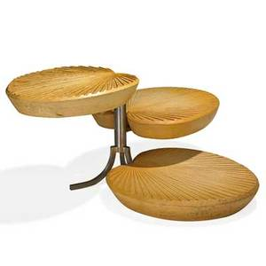 Gabriella crespi b 1922 rotating tiered occasional table italy 1970s lacquered wood stainless steel unmarked 19 x 33 12 x 31 provenance original owner purchased from the artist