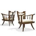 Style of ettore zaccari pair of lounge chairs italy 1950s carved mahogany canvas unmarked 31 12 x 27 12 x 26