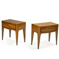Paolo buffa attr 1903  1970 pair of nightstands italy 1940s italian walnut brass unmarked 21 14 x 22 34 x 14