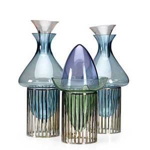 Lino sabattini b 1925 group of three palaffita vessels italy 1970s silver plate colored glass two bases stamped sabattini italy one stamped sabattini made in italy with hallmark 14 x 6 1