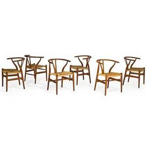 Hans wegner 1914  2007 carl hansen  son set of six wishbone chairs denmark 1960s oak woven paper cord all branded 28 12 x 21 14 x 20
