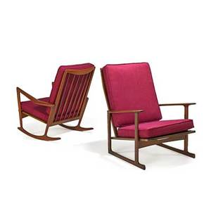 Ib kofodlarsen 1921  2003 selig rocker and lounge chair denmark 1960s sculpted teak wool metal labels rocking chair 37 x 32 x 36 lounge chair 36 x 29 x 35