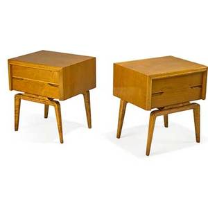 Edmund spence pair of nightstands sweden 1950s quilted maple stenciled marks 24 x 22 x 18 ea