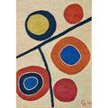 After alexander calder 1898  1976 bon art maguey fiber tapestry floating circles guatemala 1974 embroidered ca 74 37100 fabric label 50 x 72